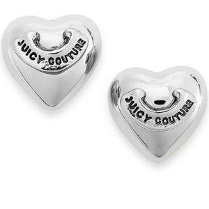 Juicy couture heart shaped stud earrings silver
